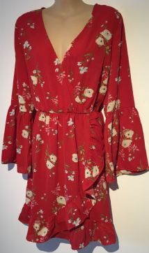 GIRL IN MIND RED FLORAL FLUTED SLEEVE DRESS BNWT SIZE UK 14